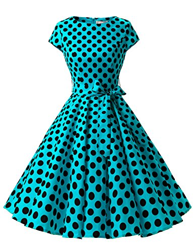 Dressystar DS1956 Women Vintage 1950s Retro Rockabilly Prom Dresses Cap-Sleeve 2XL Blue Black Dot B
