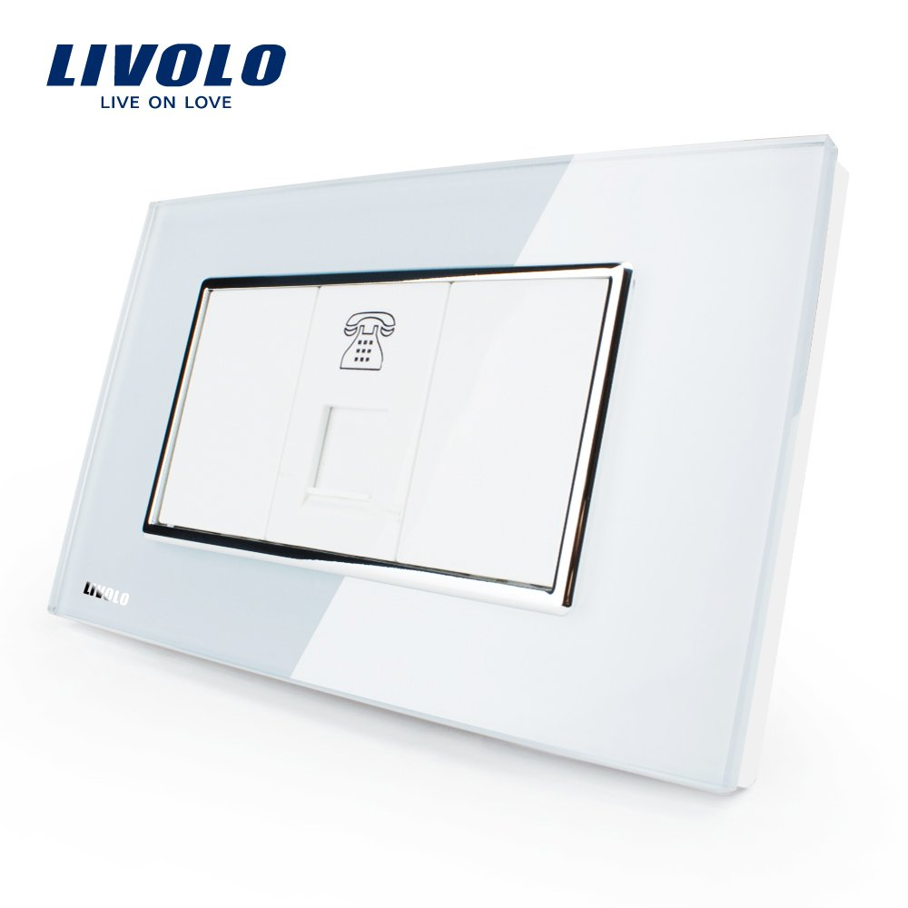 LIVOLO White US/AU Standard 1 Gang Telephone Socket Luxury Tempered Glass Panel, C391T-81