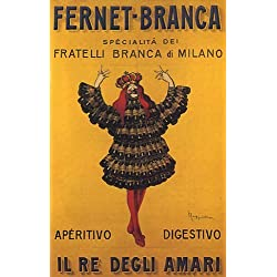 KING FERNET BRANCA BOTTLE DRESS MILANO ITALIA ITALY ITALIAN LARGE VINTAGE POSTER REPRO