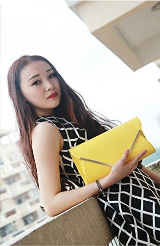 Moda Del Amarillo Correa Para Mujer Embrague Azul De Bolso La Sobres Con Bolsa Metal Crossbody Hombro rpqrcvZwR