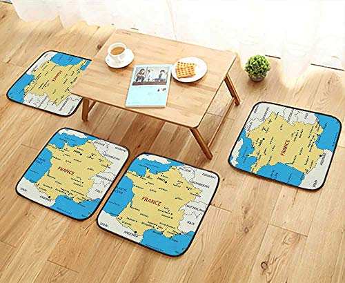 French Country Living Chair Pad - Leighhome Elastic Cushions Chairs Map of France Country French Territory Channel Mediterranean Illustration Image Cream Blue for Living Rooms W29.5 x L29.5/4PCS Set