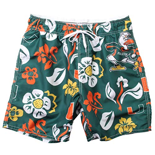 Wes and Willy NCAA Mens Floral Swim Shorts (Large, Miami Hurricanes)