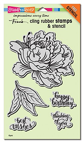 STAMPENDOUS CRS5103 Cling Fresh Peony W/Template (Stamp Peony Rubber)