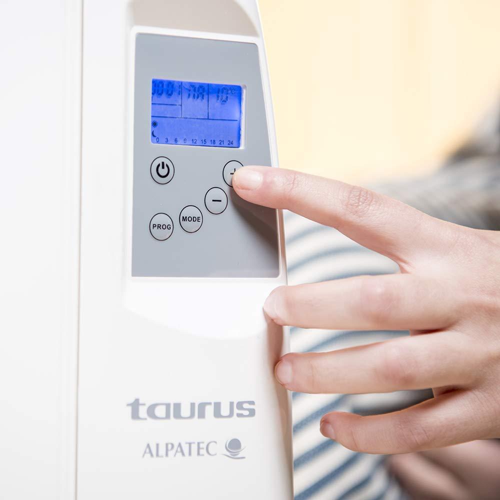 5 elementos 900W tecnolog/ía seca Taurus Tallin 900 Emisor t/érmico Incluye ruedas y soporte pared funcionamiento confort y econ/ómico temperatura hasta 35/ºC programaci/ón diaria-semanal