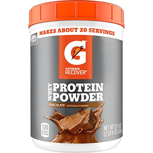 Gatorade Whey Protein Powder, Chocolate, 22.4 Ounce (20 servings per canister, 20 grams of protein per serving) (The Best Post Workout Protein Shake)