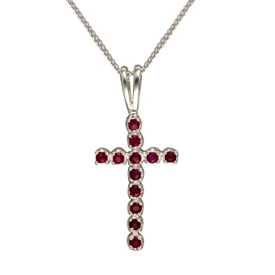 Ivy Gems Sterling Silver Ruby Cross Pendant Curb Chain of 18 Inch IHZzQE8J