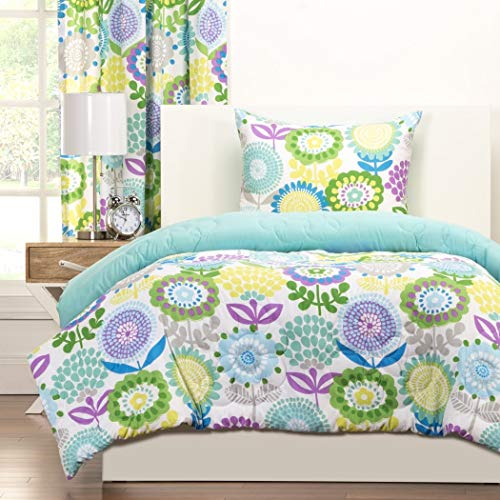 2 Piece Multi Floral Comforter Twin Set, All Over Beautiful Charming Large Flowers Pattern, Gorgeous Colorful Reversible Bedding, For Modern Bedrooms, Blue, Green, Purple, White, Yellow, Polyester