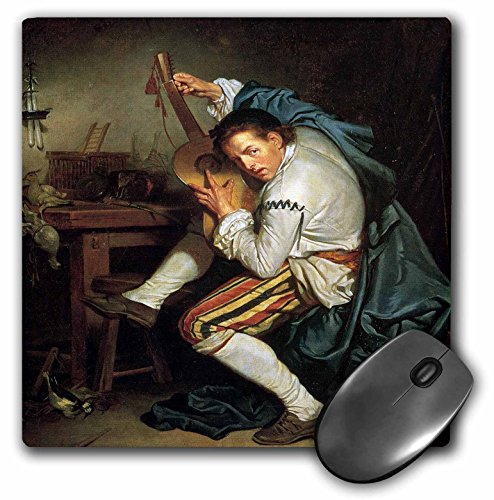 Jean Baptiste Greuze Paintings - 3dRose BLN Music Featured in Fine Art Collection - The Guitarist, c. 1760 by Jean Baptiste Greuze Man Playing a Guitar - MousePad (mp_172078_1)