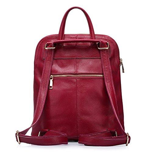 Otoño e Invierno XinMaoYuan Otoño/Invierno de cuero Cuero Single-Shoulder hombro hombro y bolsa de viaje mochila de gran capacidad ,AZUL Rojo