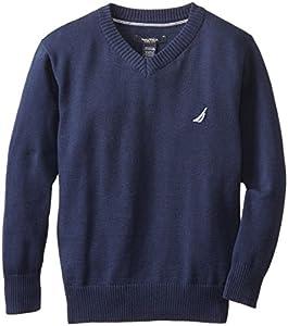 Nautica Big Boys' Solid V-Neck Sweater,Blue Spell,Small