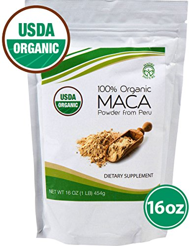 Madre Nature - Premium Grade - 100% Peruvian USDA Organic Gelatinized Maca Yellow Root Powder - (1LB) - non-GMO - Vegan - Kosher - Gluten Free (16oz)