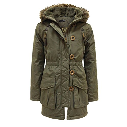 Price comparison product image Brave Soul Girls Kids Military Parka Jacket Fur Hooded Quilted Padded Coat 7 - 13 [7-8 Years,Khaki]
