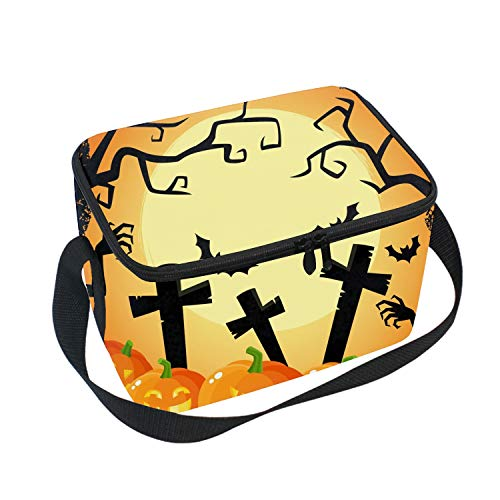 Lunch Tote, Halloween Cross Pumpkin Lunch boxes Lunch Bags Waterproof Picnic Lunch Bag Mom Bag -