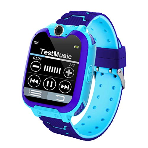 AGUIguo Kids Waterproof Smartwatch,1.4 inch Colorful Touch Screen Smartwatch for Children with SOS one-Click Help, Camera and Music Player,Calculator and Alarm Clock for Boys and Girls (Blue)