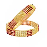 Crunchy Fashion Bollywood Style Party Wear Traditional Indian Jewelry Gold Bangle Set for Women (2.8)