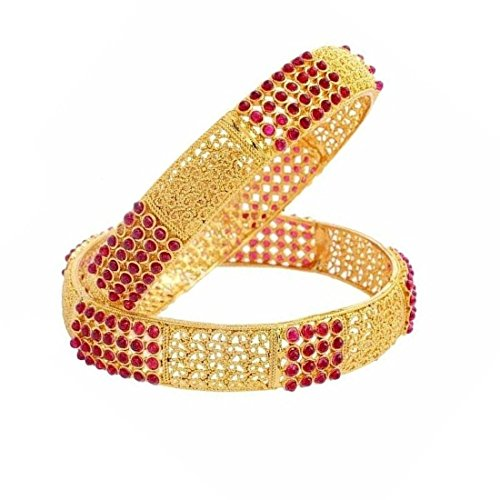 Crunchy Fashion Bollywood Style Party Wear Traditional Indian Jewelry Gold Bangle Set for Women (2.6)