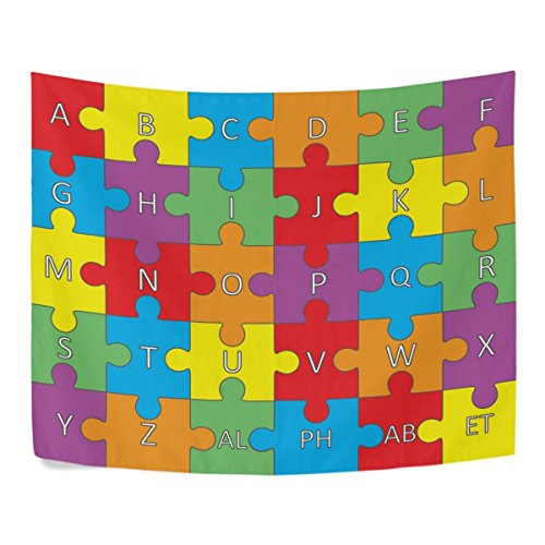 asddcdfdd Colorful Alphabet Puzzle Fun Learning Polyester House Decor Wall Hangings Tapestry Wall Carpet 60x40 Inch Apartment Decor
