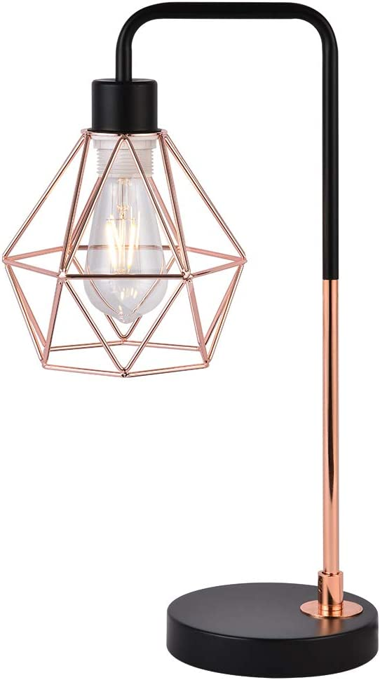 COTULIN Modern Industrial Table Lamp,Delicate Design Desk Lamp for Living Room Bedroom Office,Bedside Lamp with Geometric Cage Shade,Rose Gold