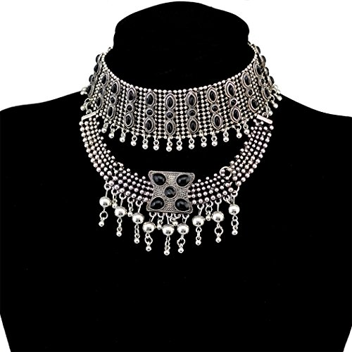 Retro Boho Tribal Tassel Collar Bib Chain Chunky Pendant Statement Necklace Choker for Women ()