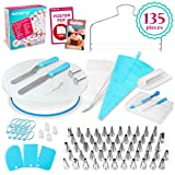 KuchePro 135-Piece Premium Cake Decorating Supplies Kit - Includes Cake Turntable Stand, 55 Icing Tips, 4 Piping Couplers, 1 Silicone Pastry Bag, 50 Disposable Pastry Bags & Many More Decorating Tools