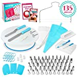 135-Piece Premium Cake Decorating Supplies Kit - Includes Cake Turntable Stand, 55 Numbered Icing Tips, 4 Piping Couplers, 1 Silicone Pastry Bag, 50 Disposable Pastry Bags & Many More Decorating Tools 10 ✔ LARGE ULTIMATE CAKE DECORATING KIT: KuchePro offers the largest cake decorating supplies set you can buy with a whopping 135 pieces. Whether you a casual weekend cake baker or a professional with your own TV show, our set has everything you will need. We want to provide you with all the essential top-quality cake decorating tools at a great value. ✔ OUR CAKE DECORATING SUPPLIES SET HAS IT ALL: Here's what you will get in our premium cake decorating kit- 1 Cake Turntable with Non-Slip Silicone Base, 55 Numbered Icing Tips, 4 Icing Bag Couplers, 1 Reusable Silicone Pastry Bag, 50 Disposable Pastry Bags, 1 Cake Leveler with Two Strings, 1 Cake Writing Pen, 1 Cake Smoother, 1 Icing Tip Cleaning Brush, 2 Cake Flower Nails, 1 Cake Flower Lifter, 3 Frosting Scrapers, 2 Cake Decorating Spatulas, 12 Silicone Pastry Bag Ties. ✔ SAFE, HIGH-QUALITY MATERIALS: The KuchePro 135-Piece Cake Decorating Supplies Kit are made from 100% food grade quality materials that are built to last so you can create beautiful looking cakes for years and years. BPA free silicone tools, non-toxic plastics, and all cake decorating tools and accessories are dishwasher safe.