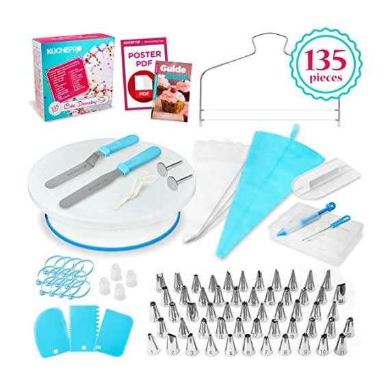135-Piece Premium Cake Decorating Supplies Kit - Includes Cake Turntable Stand, 55 Numbered Icing Tips, 4 Piping Couplers, 1 Silicone Pastry Bag, 50 Disposable Pastry Bags & Many More Decorating Tools 1 ✔ LARGE ULTIMATE CAKE DECORATING KIT: KuchePro offers the largest cake decorating supplies set you can buy with a whopping 135 pieces. Whether you a casual weekend cake baker or a professional with your own TV show, our set has everything you will need. We want to provide you with all the essential top-quality cake decorating tools at a great value. ✔ OUR CAKE DECORATING SUPPLIES SET HAS IT ALL: Here's what you will get in our premium cake decorating kit- 1 Cake Turntable with Non-Slip Silicone Base, 55 Numbered Icing Tips, 4 Icing Bag Couplers, 1 Reusable Silicone Pastry Bag, 50 Disposable Pastry Bags, 1 Cake Leveler with Two Strings, 1 Cake Writing Pen, 1 Cake Smoother, 1 Icing Tip Cleaning Brush, 2 Cake Flower Nails, 1 Cake Flower Lifter, 3 Frosting Scrapers, 2 Cake Decorating Spatulas, 12 Silicone Pastry Bag Ties. ✔ SAFE, HIGH-QUALITY MATERIALS: The KuchePro 135-Piece Cake Decorating Supplies Kit are made from 100% food grade quality materials that are built to last so you can create beautiful looking cakes for years and years. BPA free silicone tools, non-toxic plastics, and all cake decorating tools and accessories are dishwasher safe.