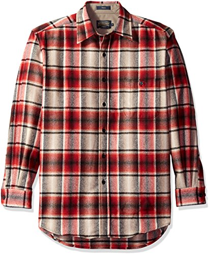 Pendleton Men's Long Sleeve Trail Shirt W/ Elbow Patch, Red/Black Ombre, XX-Large