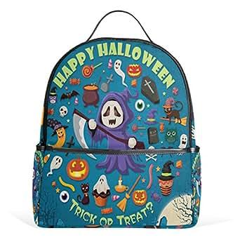 WIHVE Halloween Skull Head Jack-O'-Lantern Bat Kids Lightweight School Backpack Bookbag 1th to 4th Grade for Teen Girls & Boys