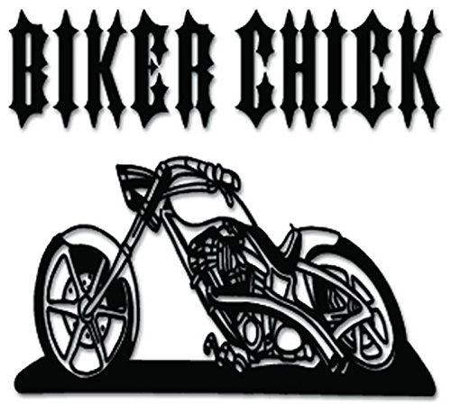 Biker Chick Chopper Motorcycle Vinyl Decal Sticker For Vehicle Car Truck Window Bumper Wall Decor - [6 inch/15 cm Wide] - Matte WHITE Color ()