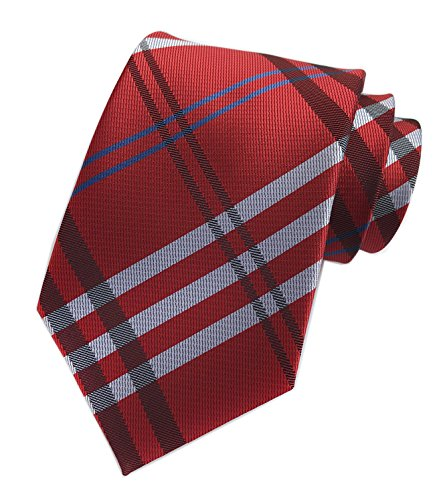 398f2a1a87a5 Elfeves Men's Modern Tartan Checks Plaid Style Formal Ties Woven Pattern  Necktie