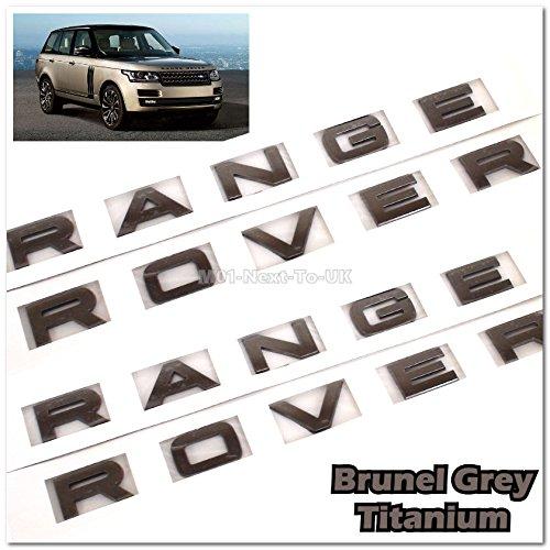 (2x Range Rover Brunel Grey L322 Hood Tailgate Bonnet Badge Lettering)