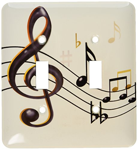 3dRose lsp_55502_2 Music Clef, Sixteenth, Quarter, Beamed Notes, Flats and Sharps In Double Toggle Switch (Double 16th Note)