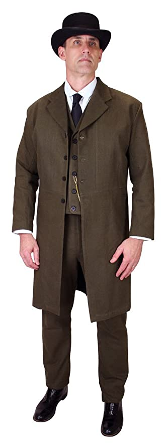 Men's Steampunk Clothing, Costumes, Fashion Cotton Frock Coat Mens 100% Brushed $149.95 AT vintagedancer.com