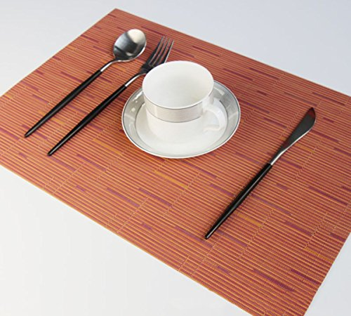 Yo FUN PVC Place Mats Heat Proof Washable Dinner Anti-Skid Weave Placemats Japenese Insulated Table Mats for Dining Table Set of 6 - 30x45CM, (Burgundy Place Spoon)