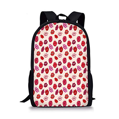 School Bags Kiss,Vivid Colored Sexy Lips Glamour Fashion Cosmetics Make Up Theme Girls Pattern Decorative,Pink Red Rose Peach for Boys&Girls Mens Sport Daypack -
