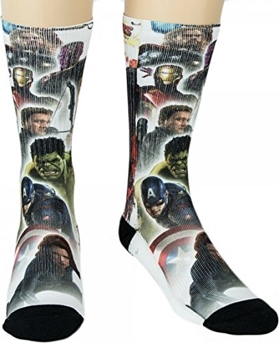 Marvel Comics The Avengers Sublimated Character Crew Socks (Adult Cartoon Characters)