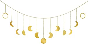 Moon Phase Wall Hanging Art Mounted Cute Metal Wire Chain Decor Long Boho Display Pediment for Cabinet,Living Room,Women Bathroom,Closet,Curtains,Teen Girls Home,Baby Shower,Travel Gift,Nursery,Gold