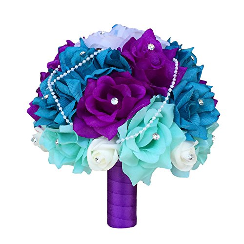 15pc-Wedding-Bridal-Flowers-Bouquets-Boutonniere-Turquoise-Purple-Silk-Roses-Flowers
