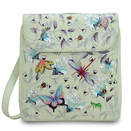 Anuschka Women's Genuine Leather Large Convertible Flap Backpack | Hand Painted Original Artwork | Wondrous Wings