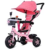 QXMEI Children's Pedal Tricycle 1-6 Years Old Baby Stroller Bicycle Boy Girl Trolley With Awning,Pink