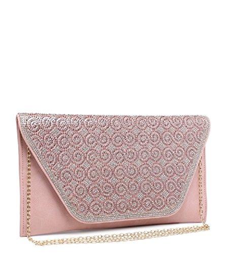 Bag Women's Bag Handbag Silver ME68017 Gem Flat Clutch Evening Handbag Ladies EAMUK Envelope Diamante Purse XS677n8