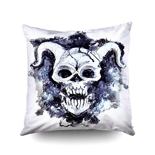 ROOLAYS Decorative Throw Square Pillow Case Cover 20X20Inch,Cotton Cushion Covers Halloween Evil Demon face White Death Symbol Black Both Sides Printing Invisible Zipper Home Sofa Decor Pillowcase]()