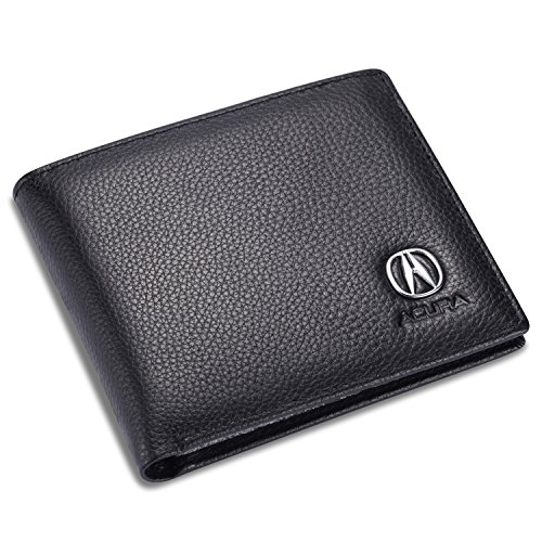 Acura Bifold Wallet With 3 Credit Card Slots And Id Window   Genuine Leather