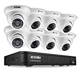 ZOSI 8-Channel HD-TVI 720p Surveillance Camera System,1080N Security DVR and (8) 1.0MP 1280TVL Outdoor/Indoor Dome Cameras, Super Day/Night Vision, Remote Access