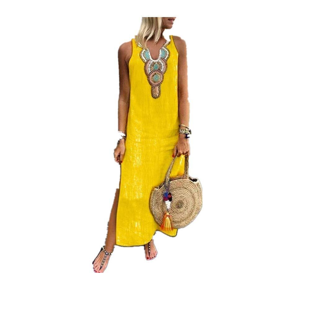 Sayhi V-Neck Print Sleeveless Cotton Split Hem Baggy Kaftan Long Dress Summer Dresses for Women Maxi Party Skirt (Yellow,L)