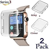 Josi Minea x2 Pcs Apple Watch Series 3 [42mm] Protective Snap-On Case with Built-in iWatch Screen Protector - PC Hard Anti-Scratch & Shockproof Shield HD Ultra Thin Cover - 42mm [2 Pack - Clear+Grey]