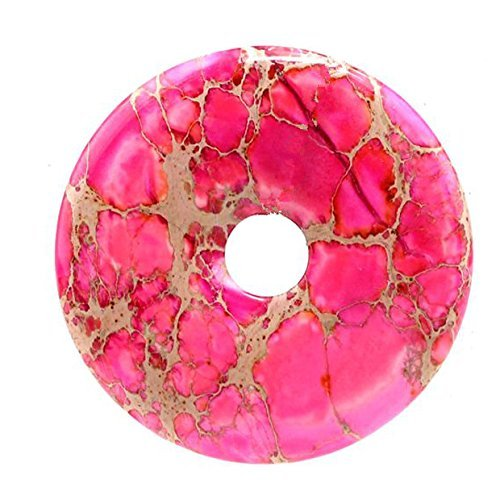 50mm Beautiful Gemstone Rose Red Sea Sediment Jasper Donut Pendant Bead 1Pcs,DIY Jewelry Accessories For Necklace (Red Sea Stone)