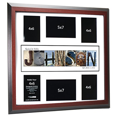 - Creative Letter Art Personalized 20 by 20 inch Framed Beach and Nautical Related Name Collage which holds 4x6 and 5x7 inch Photographs with Wedding Registry Mat