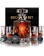 Premium Glass Decanter Set, Whiskey Decanter Set 4 Liquor Glasses, Men Gift 9 Cooling Whisky Stones and Funnel for Rum, Scotch, Bourbon, Whisky, Crystal Clear Liquor Decanter Drinking Set (Diamond Glass)