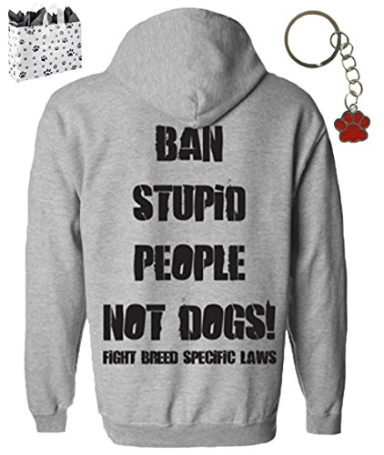Ban Stupid People Not Dogs Mens Pit Bull Hoodie, Keychain & Bag Multi-Pack Gift